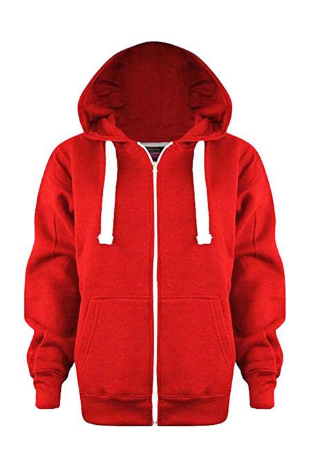 Kids Red Basic Zip Up Hoodies