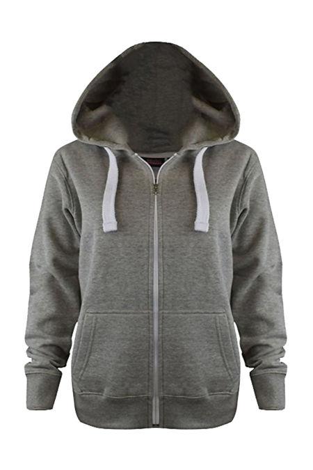 Kids Grey Basic Zip Up Hoodies