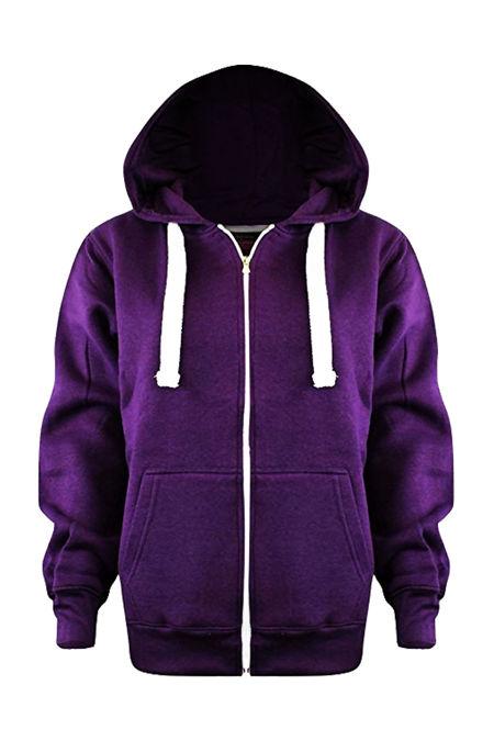 Kids Purple Basic Zip Up Hoodies