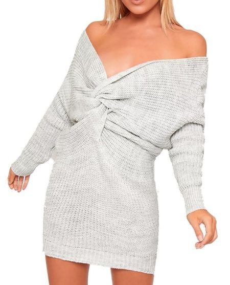 Twist Knot Knitted Jumper Dress