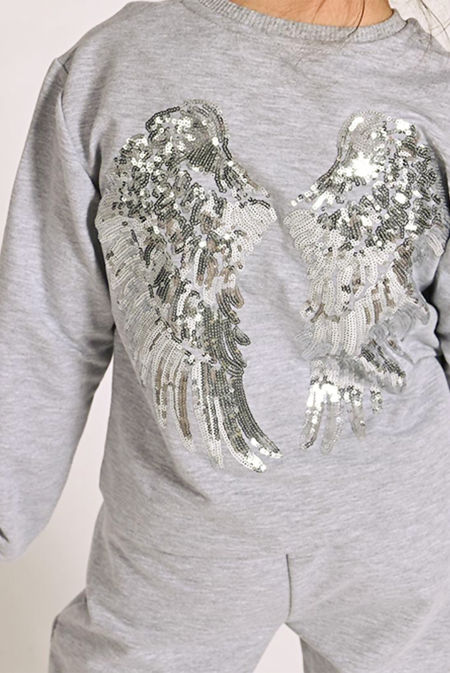 Girls Grey Sequin Angel Wings Back Loungewear