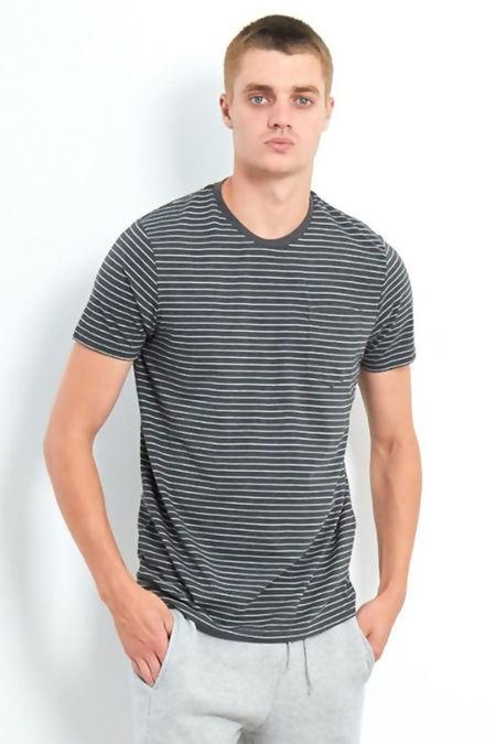 Charcoal Crew Neck Yarn Dye Stripe T-Shirt