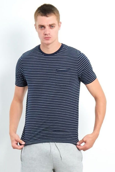 Navy Crew Neck Yarn Dye Stripe T-Shirt