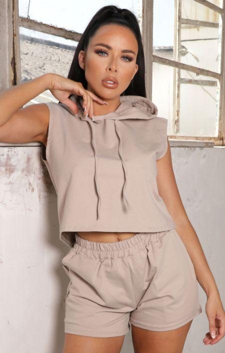 Peach Sleeveless Hoodie Shorts Activewear Set