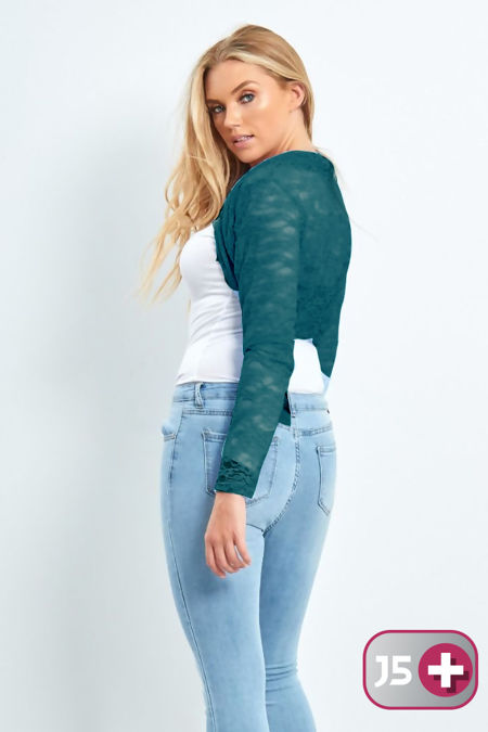 Plus Size Teal Cropped Lace Bolero Shrug