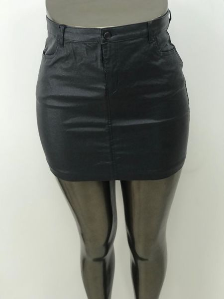 Plus Size Black Glitter Pu Leather Mini Skirt
