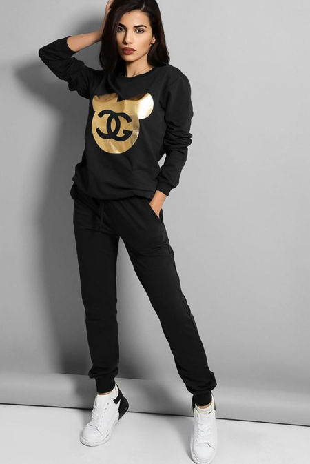 Plus Size Black Gold Mickey Logo Front Tracksuit
