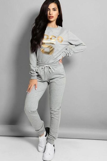Plus Size Grey Coco 5 Lounge Tracksuit