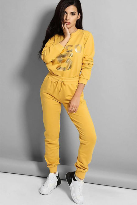 Plus Size Mustard Coco 5 Lounge Tracksuit