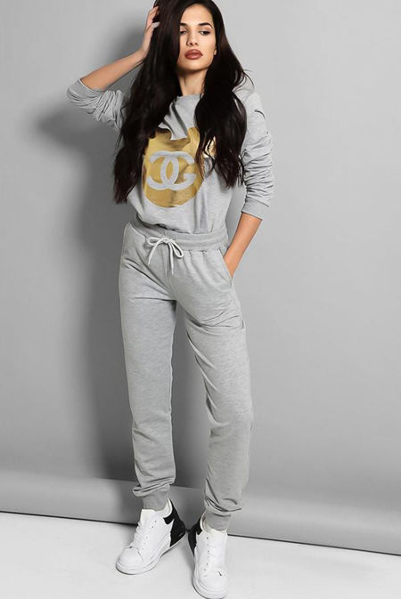 Plus Size Grey Gold Mickey Logo Front Tracksuit