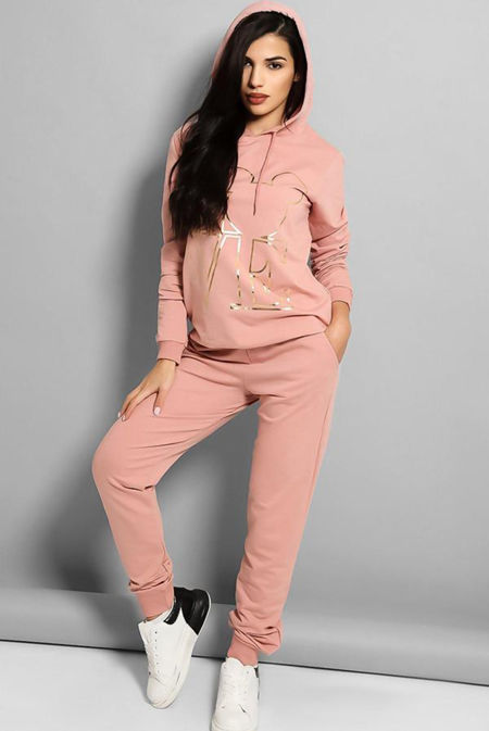 Plus Size Pink LOVE Slogan Hooded Tracksuit