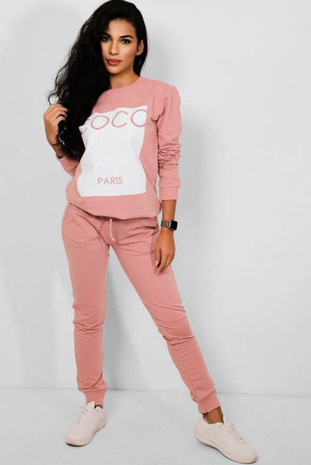 Plus Size Pink Coco Hooded Loungewear Set