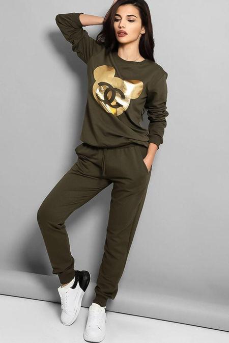 Khaki Gold Mickey Logo Front Tracksuit