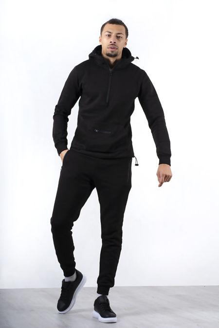 Black Half Zip Pullover Tracksuit-Pre Order
