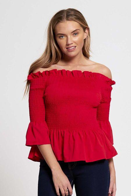 Red Bardot Frill Hem Top