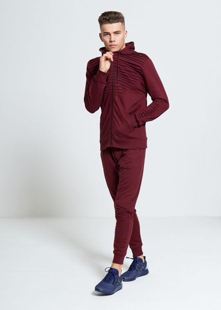 Wine Ribbed Panel Tracksuit