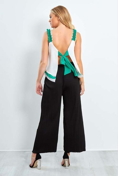 Frill Open Back Tie Knot Top