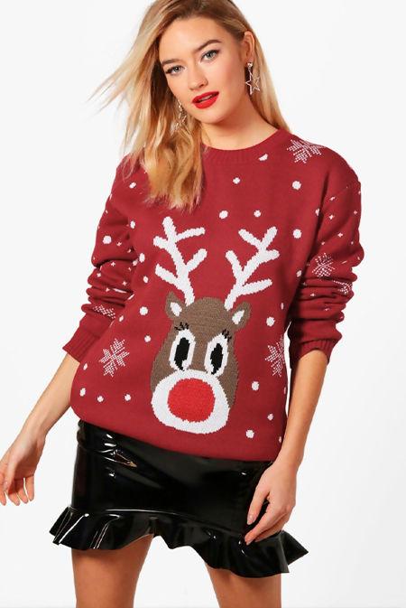 Wine Snowflake Reindeer Christmas Jumper