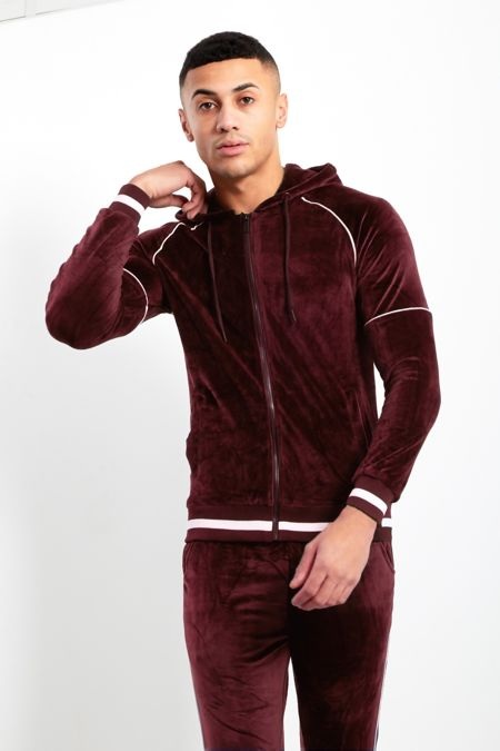 White Stripe Wine Skinny Fit Hood Tracksuit
