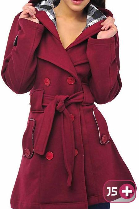 Plus Size Wine Double Breast Coat
