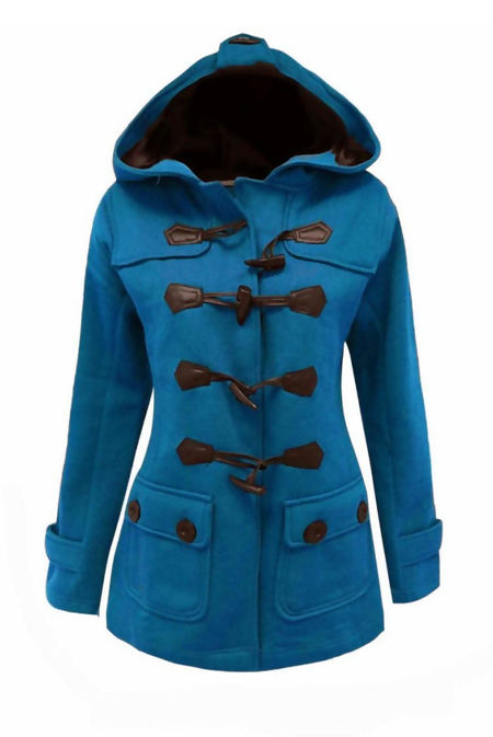Plus Size Denim Fleece Hooded Toggle Jacket