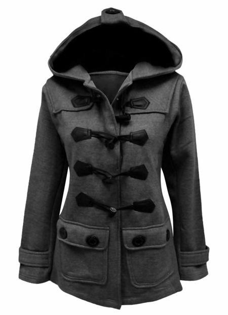 Plus Size Charcoal Fleece Hooded Toggle Jacket