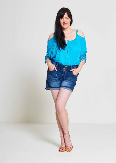 Plus Size Denim Three Button Shorts