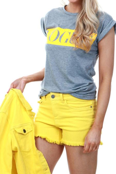 Yellow Frayed Hem Denim Shorts