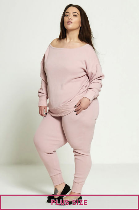 Plus Size Pink Lounge Wear Set