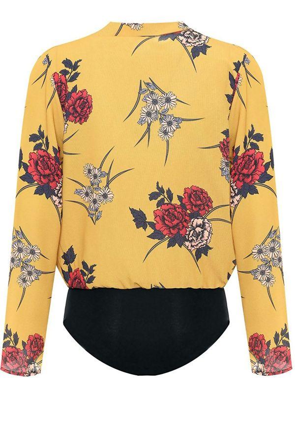 Plus Size Orange Wrapover Floral Print Bodysuit