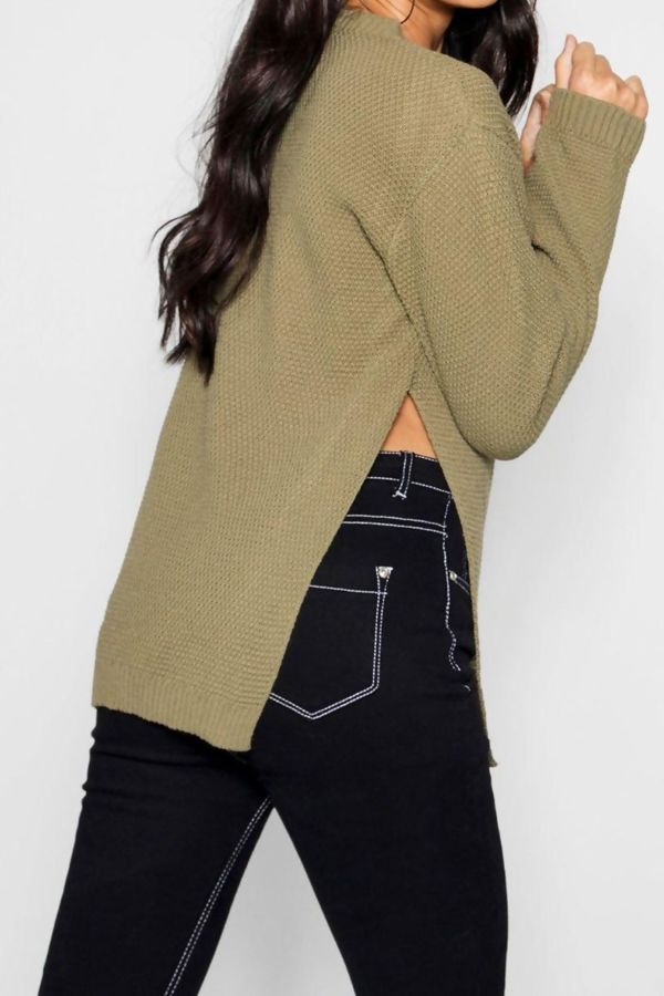 Side Split Moss Khaki Knitted Jumper