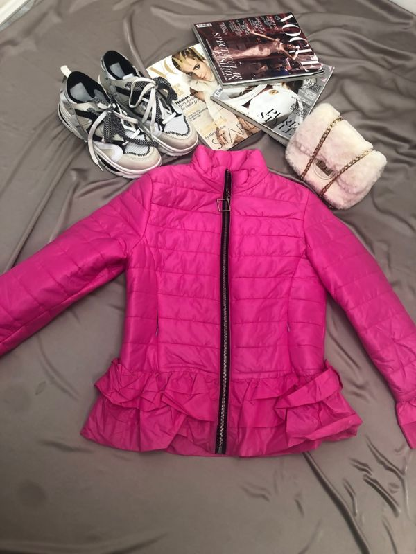 Hot Pink Padded Peplum Jacket