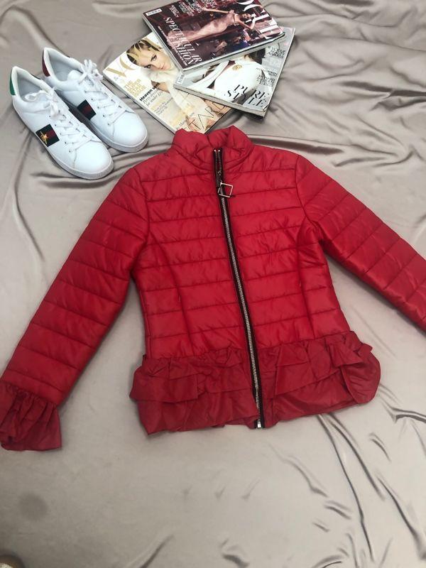 Red Padded Peplum Jacket