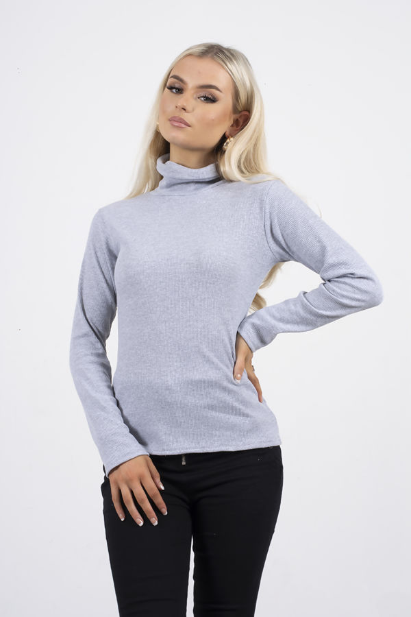 Grey Turtle Neck Ribbed Top