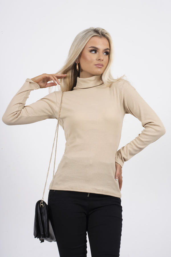 Beige Turtle Neck Ribbed Top