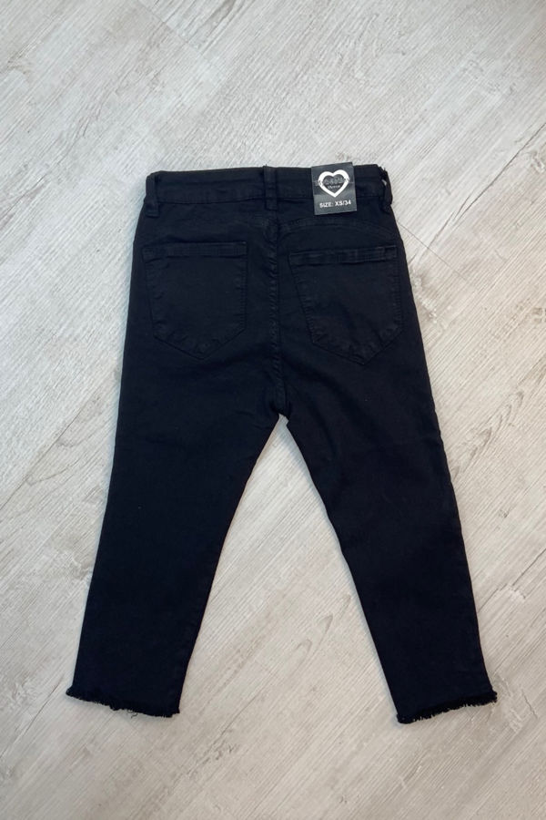 Black Frayed Hem Skinny Shorts