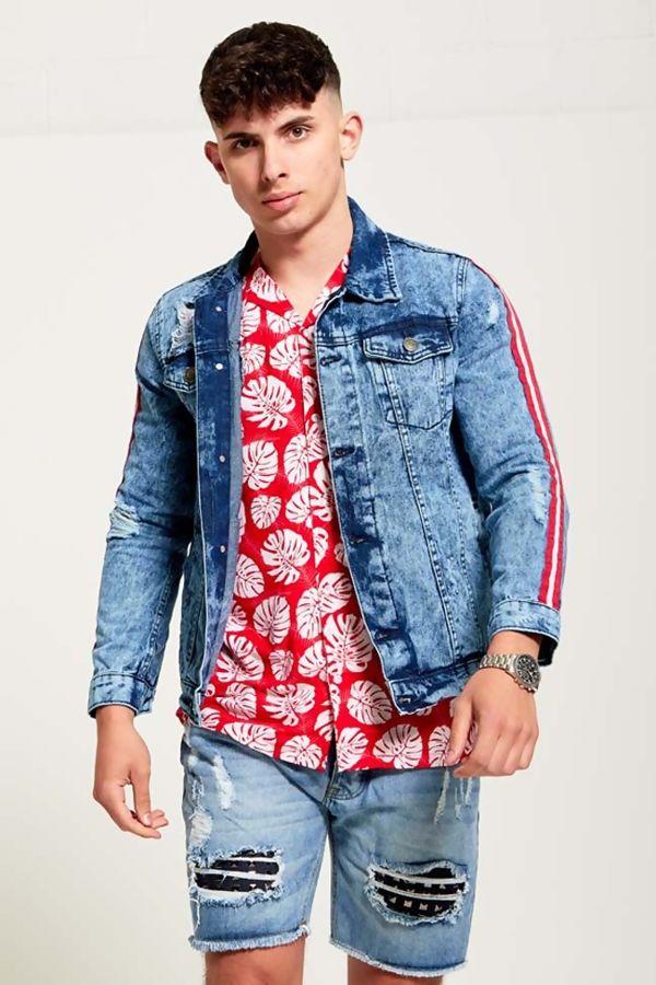 Mens Retro Stripe Distressed Denim Jacket