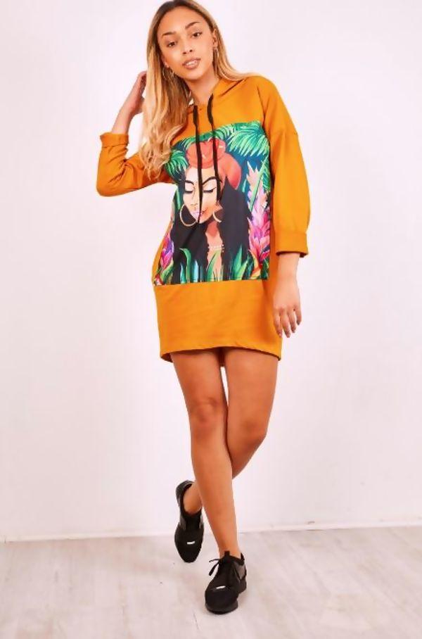 Mustard Face Print Long Sleeves Hooded Jumper Dress