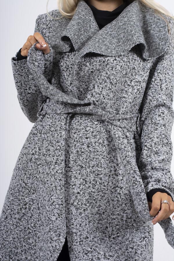 Grey Marl Textured Belted Coat