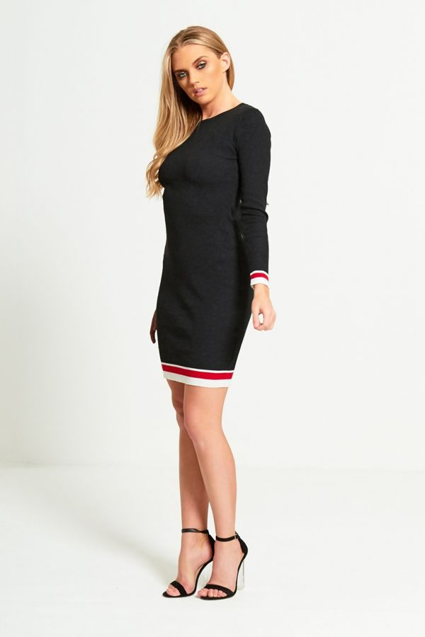Black Ribbed Striped Detail Curve Dress