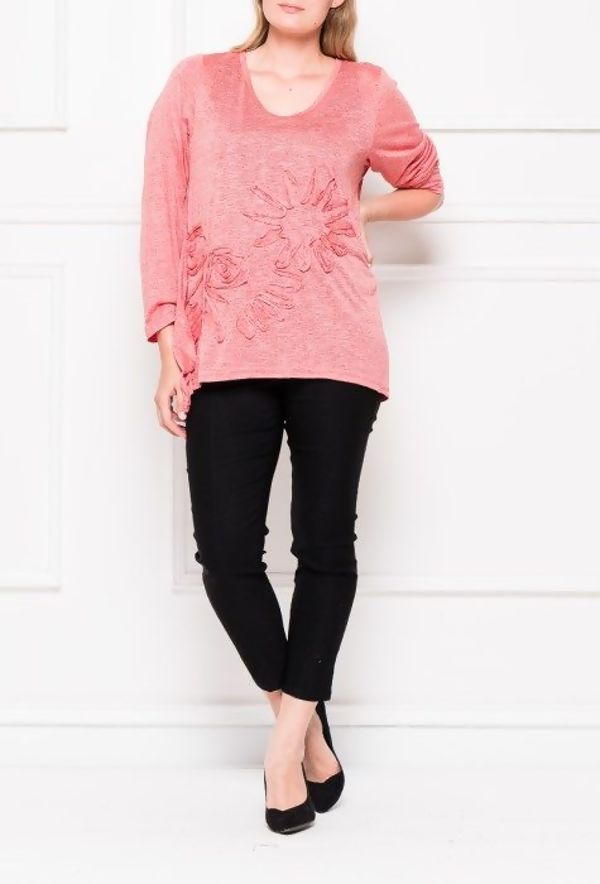 Plus Size Grey Long Sleeves Floral Detail Top