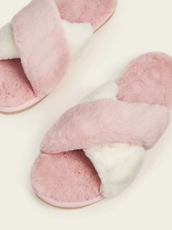 Rosa Cross Over Two-Tone Fluffy Slippers