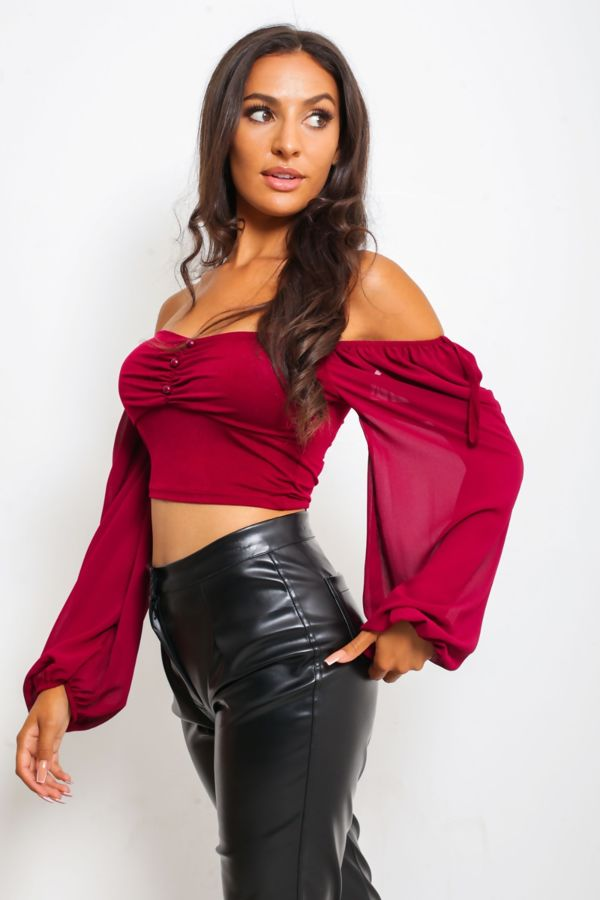Button Front Long Sleeved Crop Top