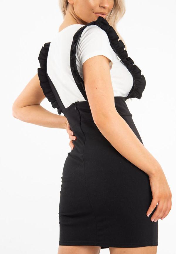 Black Frill Pinafore Mini Dress