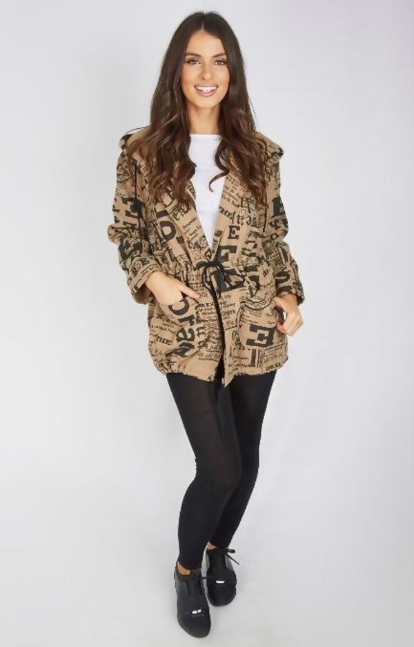 Camel Doodle Slouch Coat