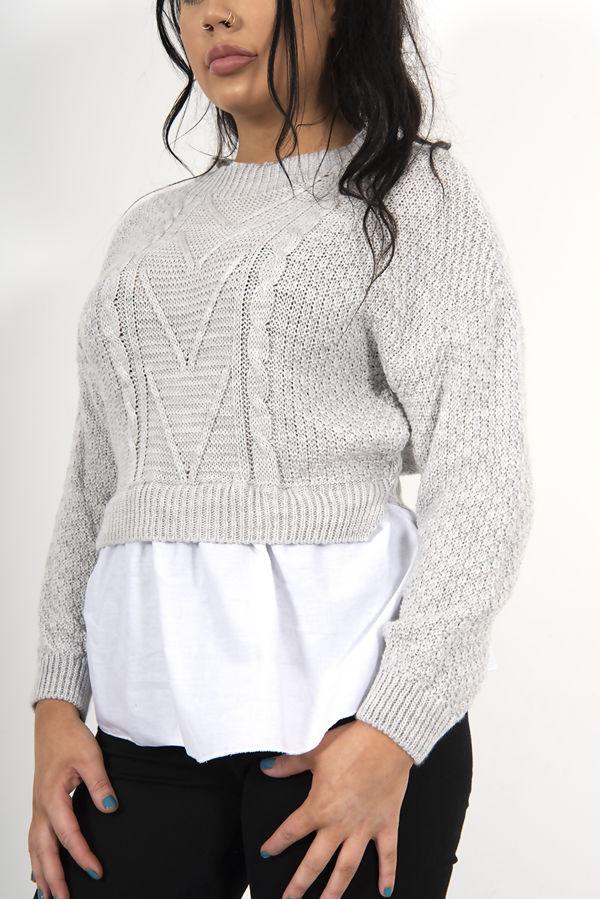 Grey Frill Knitted Shirt Jumper