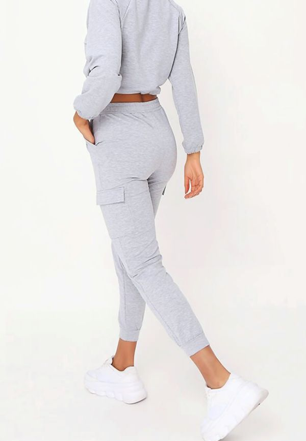 Grey Front Pocket Half Zip Lounge Set