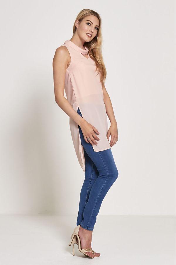 Blue Choker Neck Longer Dress
