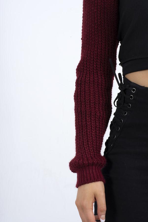 Wine Knit Arm Warmers