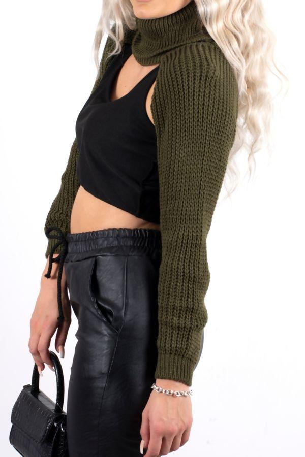 Khaki Knit Arm Warmers